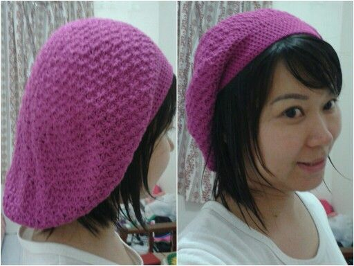 Crochet slouchy hat. Material : soft cotton