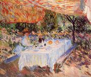 Luncheon Under The Canopy  by Claude Oscar Monet