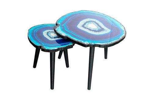 2 mesas encaixáveis Agate Azul escuro