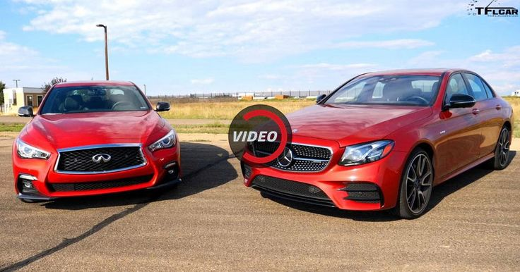 Mercedes-AMG E43 And Infiniti Q50 Red Sport Get Together To See Which One's Faster #AMG #Drag_Racing
