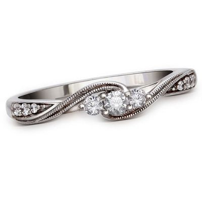 Cherished Promise Collection™ 1/6 CT. T.W. Diamond Three Stone Promise Ring in 10K White Gold - Zales