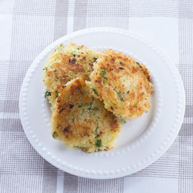 These delicious potato fritters are the perfect breakfast addition and easy to make with frozen hash browns.