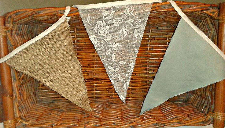 Hessian, lace and silvery sage bunting perfect for the rustic wedding with a greeny colour scheme.
