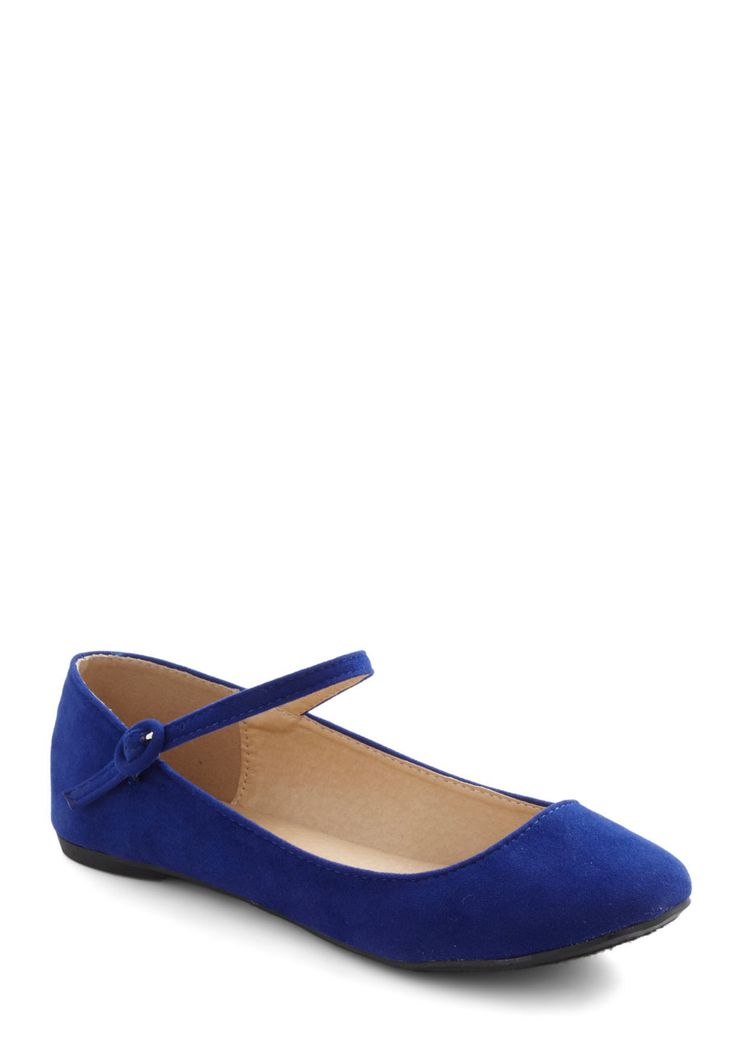 Stay in Touchable Flat - Blue, Solid, Flat, Mary Jane