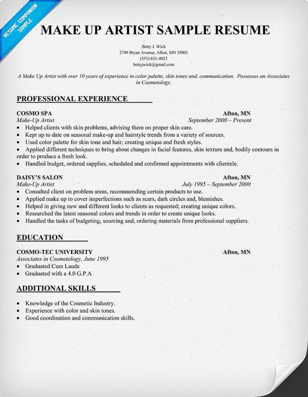 Make Up Artist Resume Sample #Beauty (resumecompanion - beginner resume template