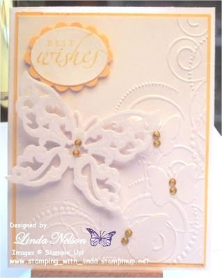 Please let me know if you'd like to purchase this or any of my other cards. best wishes, Butterflies in Corner embossing folder, Spellbinders Shapeabilities Wings of Hope Die Linda Nelson Linda's Creations Cards and Crafts www.lindascreationscardsandcrafts.com 360-326-8820