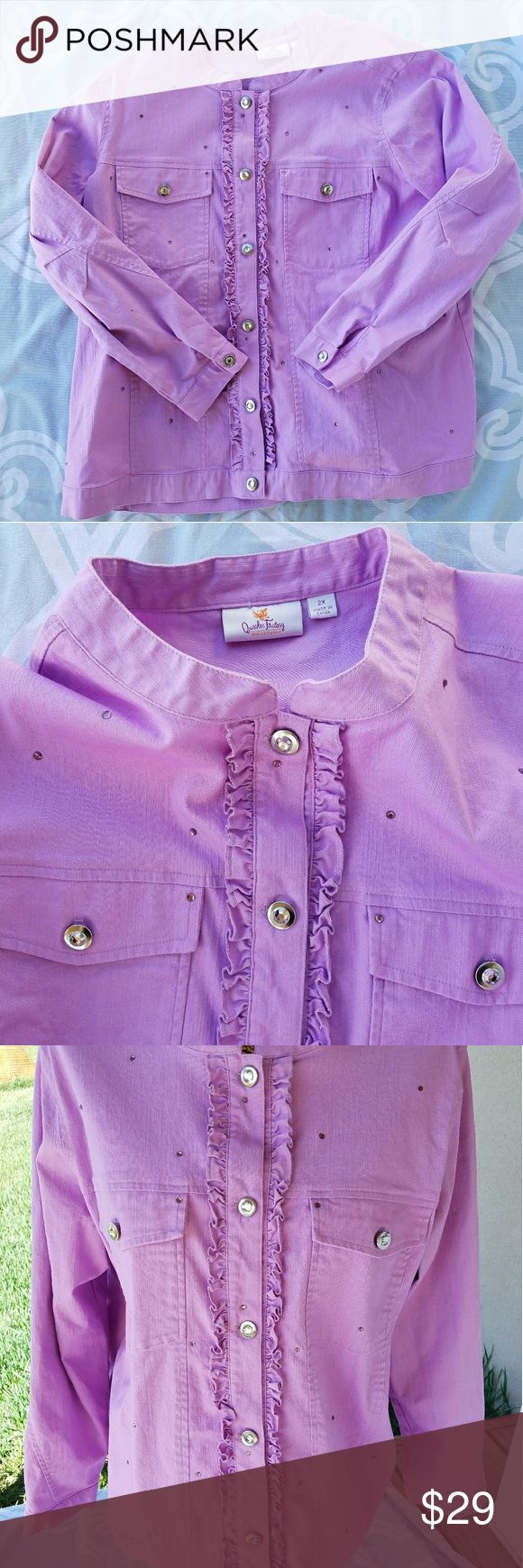 Quacker Factory lavender jean jacket Siize 2X Quacker Factory lavender jean jacket size 2X. The fabric is cotton and spandex so it has some good for comfort. Bling buttons and a ruffle placard. Excellent condition. Quacker Factory Jackets & Coats Jean Jackets