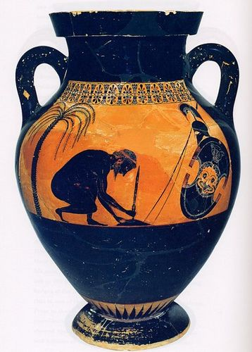 Exekias: Amphora with the Suicide of Ajax. Slip-painted pottery (black-figure technique). Ca. 540 BCE.