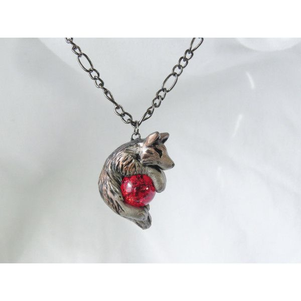 Wolf Necklace Pendant Rear View Mirror Dangle Charm Unique Cute and... ($29) ❤ liked on Polyvore featuring jewelry, wolf charm, charm pendants, clay charms, wolf pendant and mirror charms