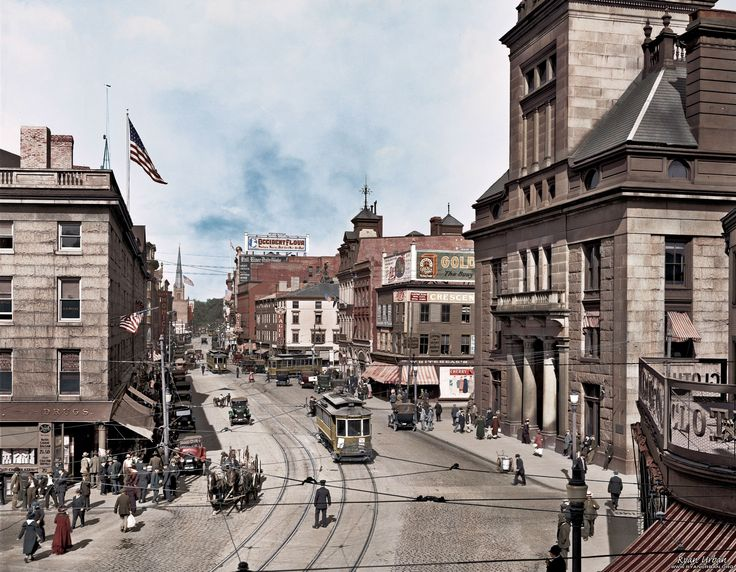 "Fall River, Massachusetts, circa 1920. ""Main Street."" #history #colorizedhistory http://i.imgur.com/6l80GyG.jpg"