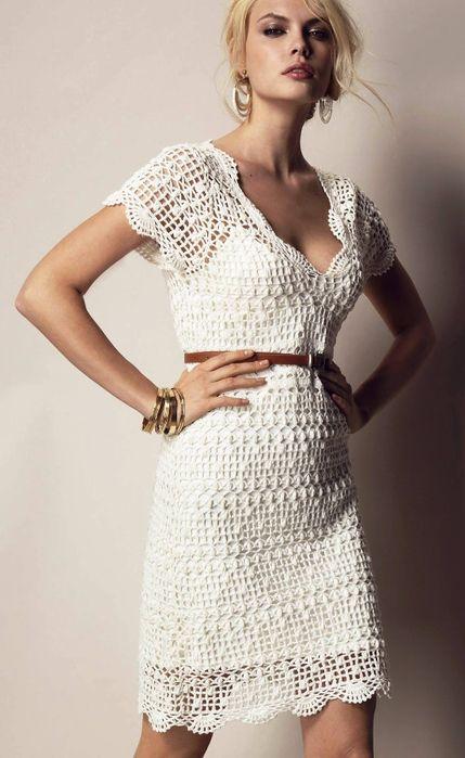 Летнее платье ажурным узором схема. Белое платье связанное крючком | Я Хозяйка