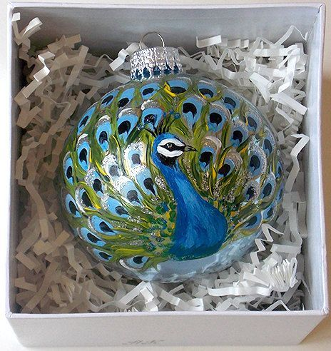 Hand Painted Christmas Ornament Glass Ball Peacock Blue Black Feathers Hand Painted Ornaments Christmas Painted Glass