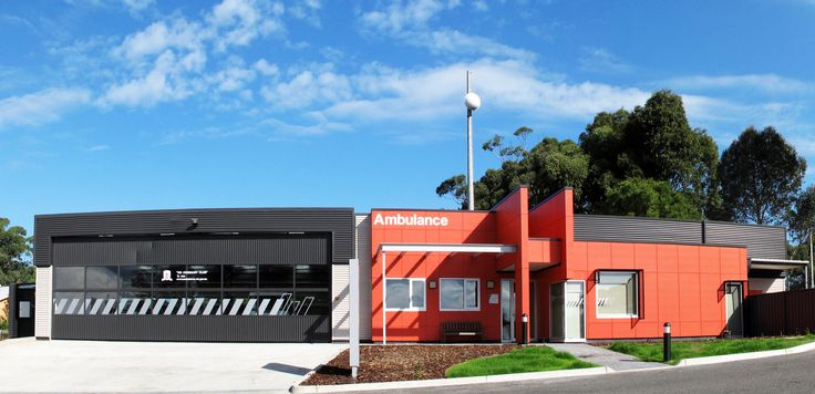 Architecture, Design, Modern, Commercial, Ambulance, Ambulance Station, Ambulance Victoria, Red, Timboon