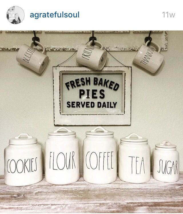 Agratefulsoul Posted Her Collection From Rae Dunn Of Gorgeous Clay Jars For The Kitchen From Marshalls