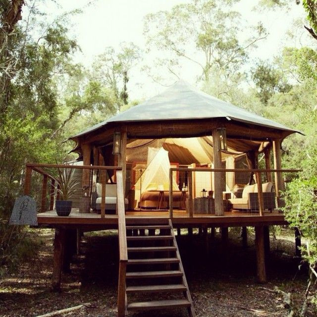 Glamping Hub It's summer down under! These luxury safari tents, nestled in a eucalyptus forest, provide a cozy place to rest your head after a long day of adventuring around Jarvis Bay