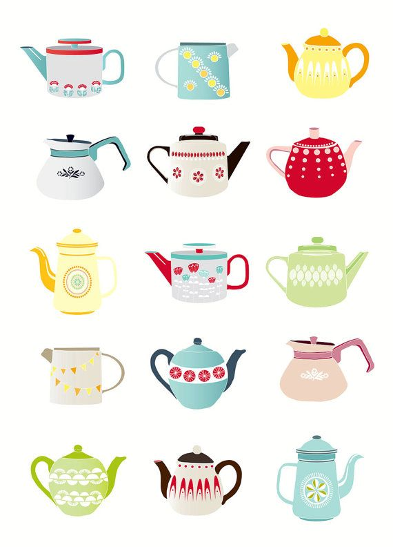 Teapots Art Print A4 colourful fun kitchen by lauraamiss on Etsy