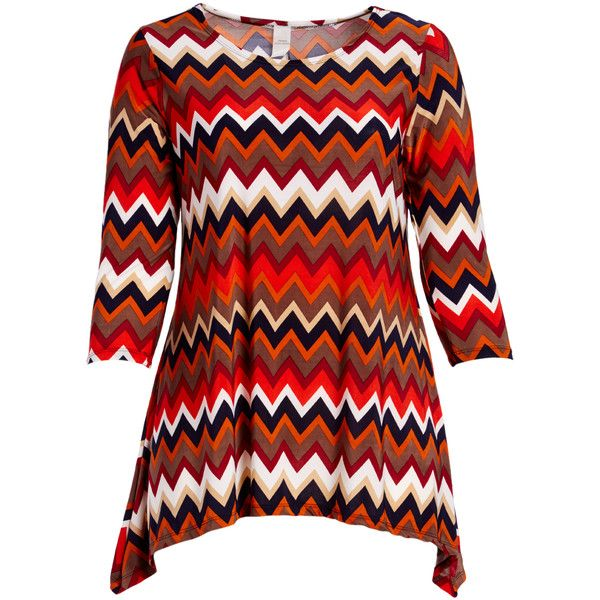 GLAM Red & Brown Chevron Sidetail Tunic ($14) ❤ liked on Polyvore featuring plus size women's fashion, plus size clothing, plus size tops, plus size tunics, plus size, plus size red tops, red tunic, plus size chevron tunic, plus size long tunics and brown tunic