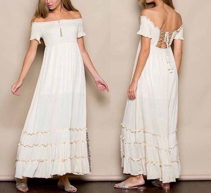 SOUTHERN GIRL FASHION Lace Up Maxi Dress Beige Off the Shoulder Long Draped Gown  | eBay