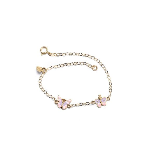Παιδικό  βραχιόλι ροζ πεταλούδα χρυσό Κ14  4161