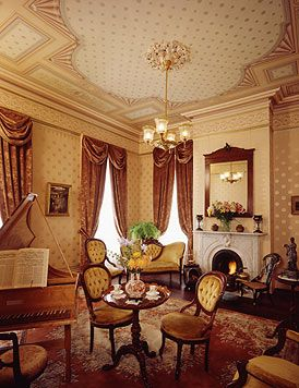 This Music Room Has A Strong Feel Of The Georgian Era Features Neo Classical Wallpaper By Bradbury