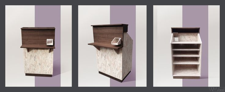 Retail store furniture  by V V Wood  // cashier desk // walnut wood and white OSB
