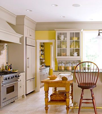 Farm Table Baking Center - A baking center doesn't have to be designed into the kitchen. A well-placed table at the right height is a great way to create your own baking space.
