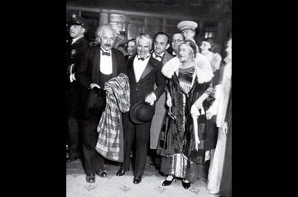 Show Time  With Charlie Chaplin (center) at the premiere of actor's film City Lights, Los Angeles, 1931. Elsa is at the right.
