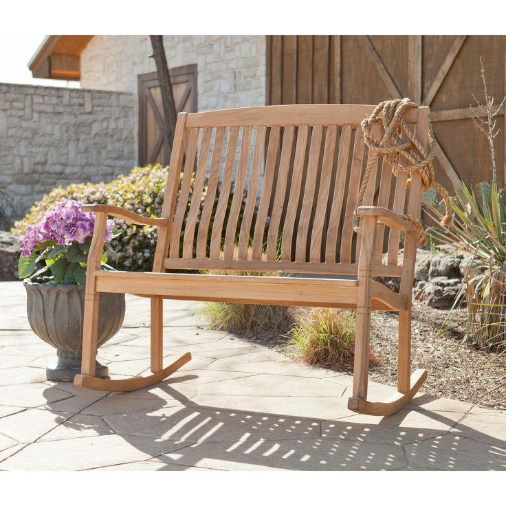The Graceful Yet Rustic Style Of This Teak Glider Bench Is Perfect For  Accenting Your Outdoor