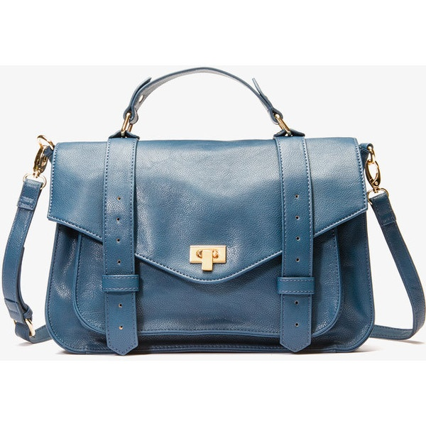 Faux Leather Satchel ($28) ❤ liked on Polyvore
