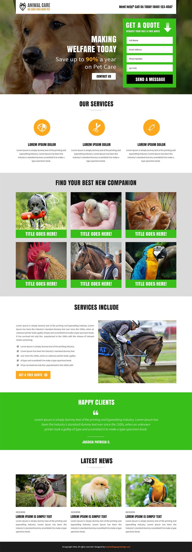 Responsive Animal Care Landing Page Template $29 only BuyNow!