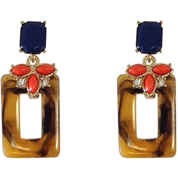 Pre-owned Navy Coral & Tortoiseshell Earrings ($25) ❤ liked on Polyvore featuring jewelry, earrings, coral earrings, tortoise earrings, tortoise shell jewelry, tortoise jewelry and navy blue earrings