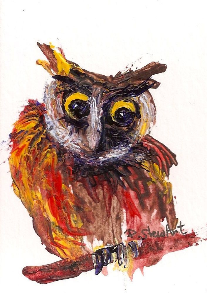 Owl ACEO Painting Out on a Limb Acrylic Painterly Style Art by Penny Lee StewArt #Impressionism