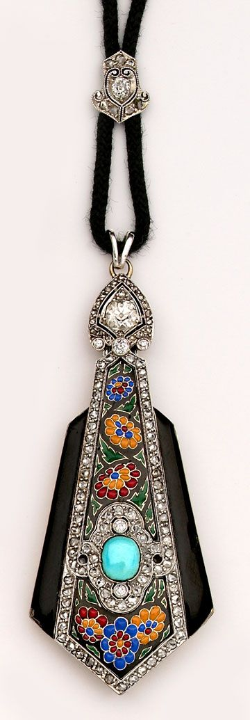 Art Deco - Exceptional multi-colored enamel, turquoise, diamond and platinum lorgnette.  Boucheron, Paris.