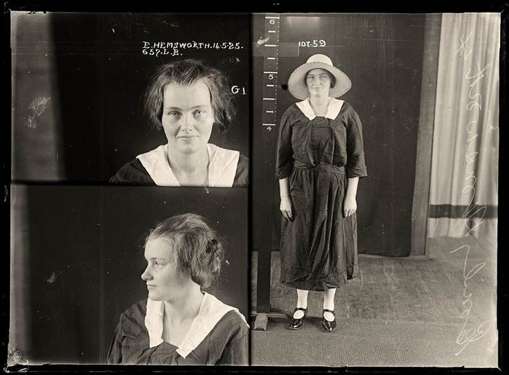 Mugshots from the 1920s: E. Hemsworth, 1925. Emily Hemsworth killed her three-week-old son but could not remember any details of the murder. She was found not guilty due to insanity.