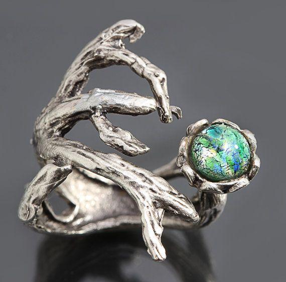 Zilveren tak Ring Opal Ring tak groene Opal Ring door DesignsBloom