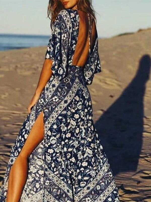 Bohemia Backless Split-side Long Dress – oshoplive