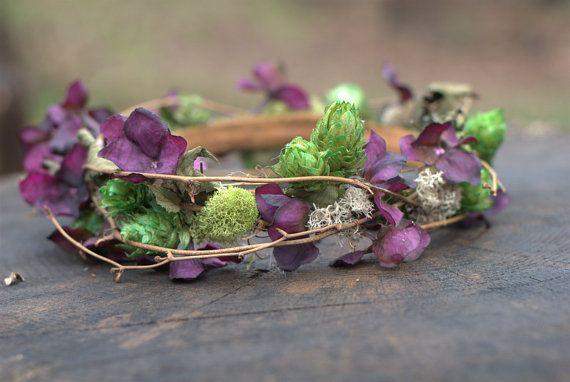 Woodland Bridal Crown/ Plum Hydrangea Wedding Crown/ by LilyMairi, $75.00