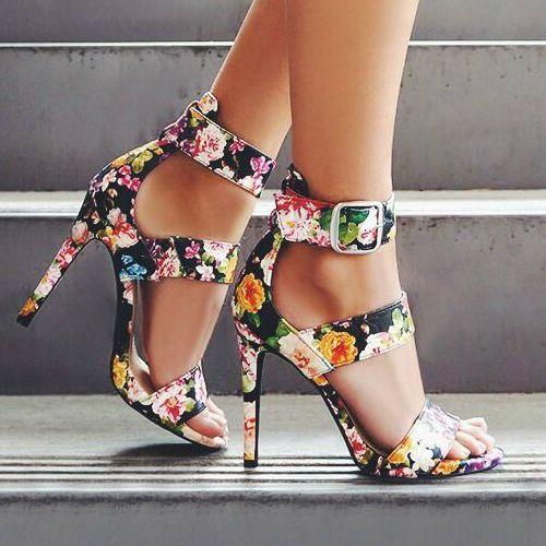 Floral Strappy Heels