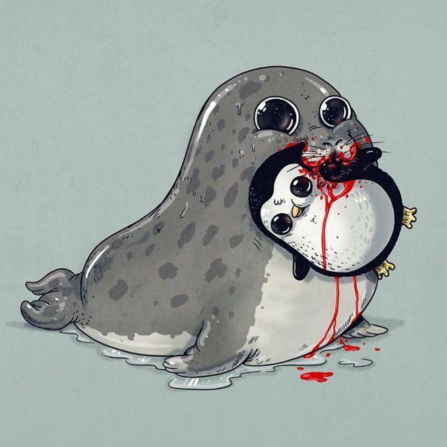 Alex Solis criou uma série de ilustrações de animais fofos e sorrindo, mas com um pequeno detalhe. Eles estão com suas presas, afinal são predadores.