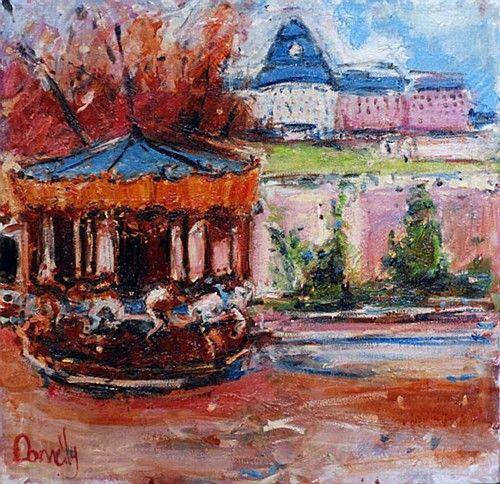 "Deborah Donnelly, ""Dun Laoghaire Carousel"" #art #DunLaoghaire #painting #carousel #Ireland #DukeStreetGallery"
