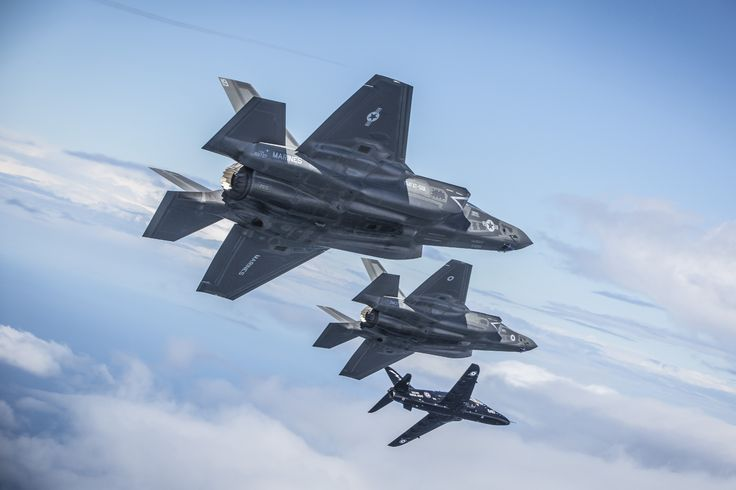 F35Bs in UK skies with RAF Hawk chase plane