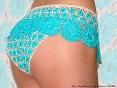 free pattern, crochet women's underwear panties, bright blue bikini bottom