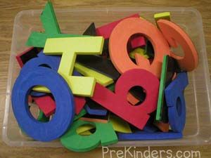 "Big Foam Letters  These are from Lakeshore. We use them with Dr. Jean's ""Who Let the Letters Out"" and Jack Hartmann's ""Animal Alphabet Cheer"".      Read more: http://prekinders.com/music-props/#ixzz20NVMKvWj"