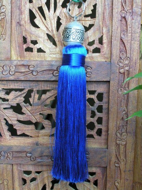 Moroccan silk tassel in blue. http://www.maroque.co.uk/showitem.aspx?id=ENT05665&s=40-40-030