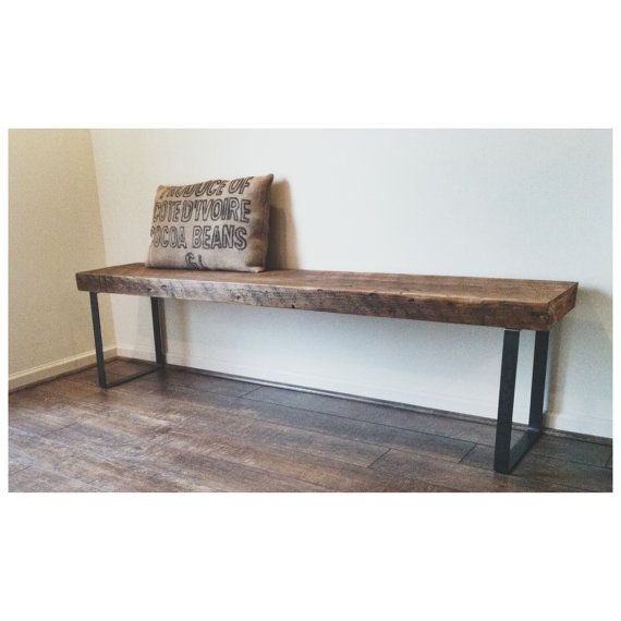 Foyer Table Hairpin Legs : Salvaged wood coffee table or bench with square steel legs