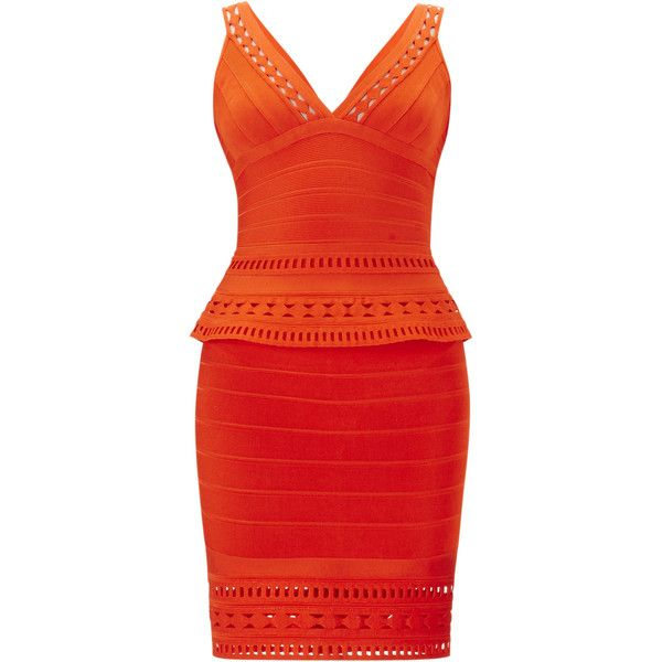 Herve Leger Rebeca Embroidered Englese Cutout Dress ($1,253) ❤ liked on Polyvore featuring dresses, herve leger, bodycon bandage dress, sleeveless bodycon dress, embroidery dress, red peplum dress and cut out bandage dress