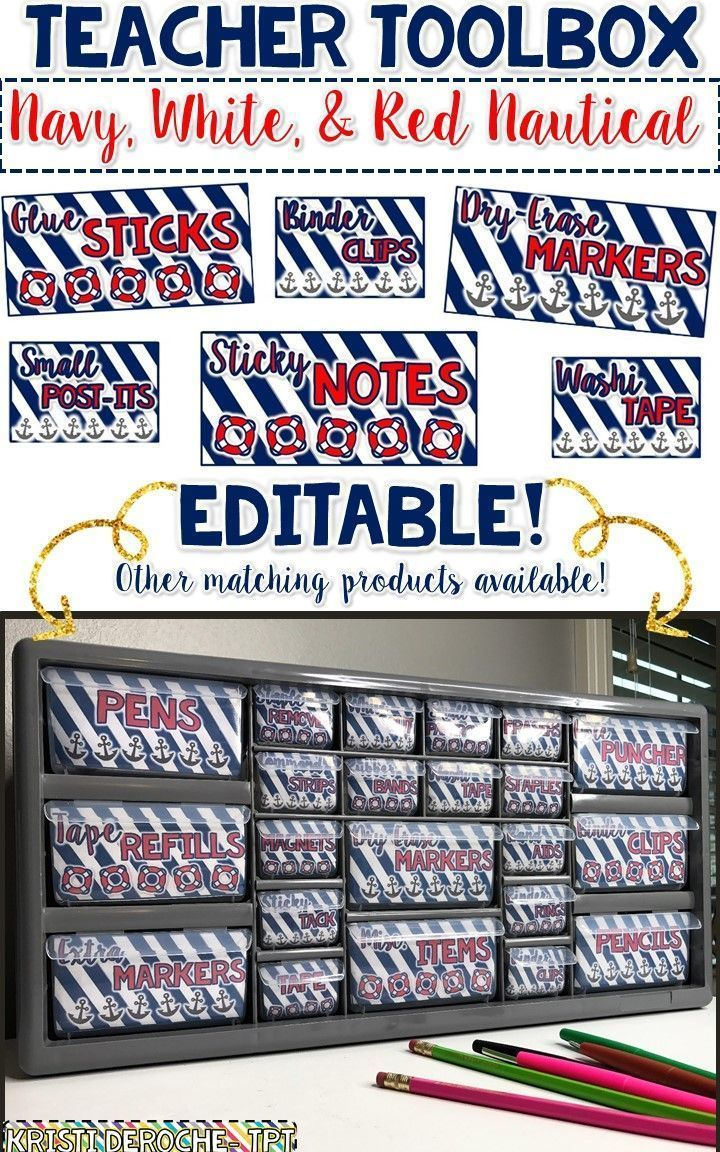 Teacher Toolbox Labels EDITABLE -Nautical theme! Small and large labels!!