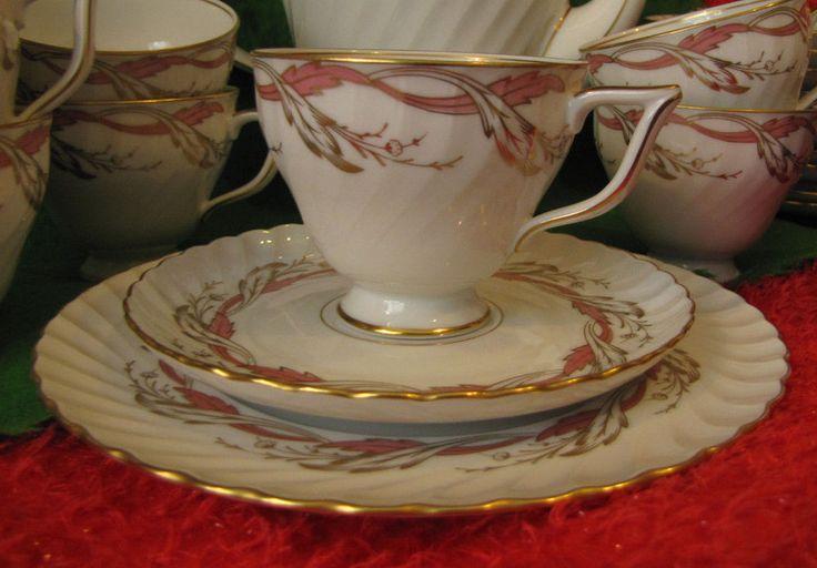 Germany Tettau porcelain Tea pair saucer plate Vintage gold plated 3 pcs Decor #KglprTettau1974