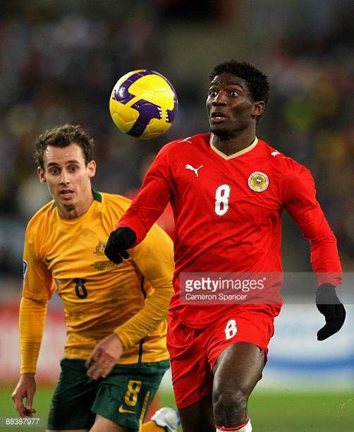 Jaycee Okwunwanne of Bahrain watches the ball during the 2010 FIFA World Cup Asian qualifying match between the Australian Socceroos and Bahrain at...