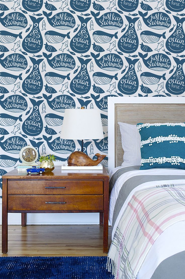 Navy Blue Whale Removable Wallpaper Blue Color Means Calm Good Dreaming Vibes Walldecor Wallmurals Blue Whales Sea Sealife Kidsroom Kids Forkids R